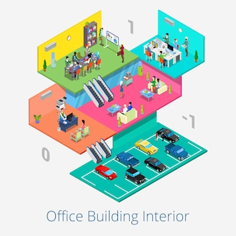 Izometryczne wnętrze centrum biurowego. biznesowa sala konferencyjna, recepcja, piętro parkingowe. 3d płaska ilustracja