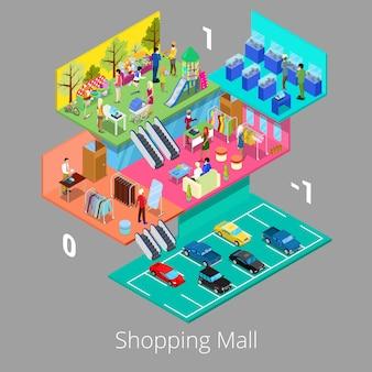 Izometryczne wnętrze centrum handlowego z parkingiem piętro butik i sklep z odzieżą.