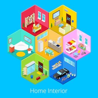 Izometryczne wnętrze domu z salonem, kuchnią, łazienką, garażem i pokojem dziecięcym. 3d płaska ilustracja