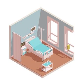 Izometryczne wnętrze intensywnej terapii sali szpitalnej