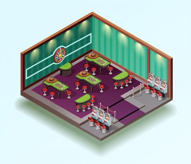 Izometryczne wnętrze kasyna hall
