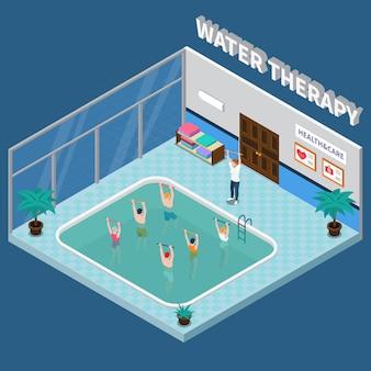 Izometryczne wnętrze kliniki rehabilitacji fizjoterapeutycznej