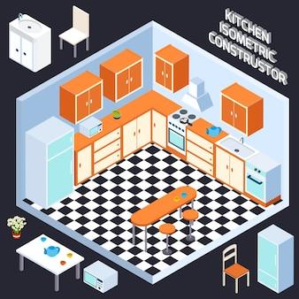 Izometryczne wnętrze kuchni