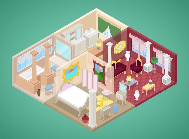 Izometryczne wnętrze mieszkania w stylu klasycznym