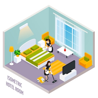 Izometryczne wnętrze pokoju hotelowego