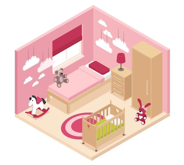 Izometryczne wnętrze przytulnego pokoju dziecięcego różowego z szafą szafka nocna przy łóżku łóżeczko dziecięce i łóżko piętrowe