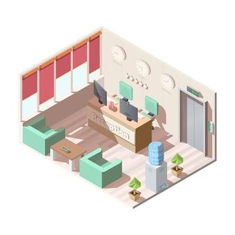 Izometryczne wnętrze recepcji hotelu, biuro