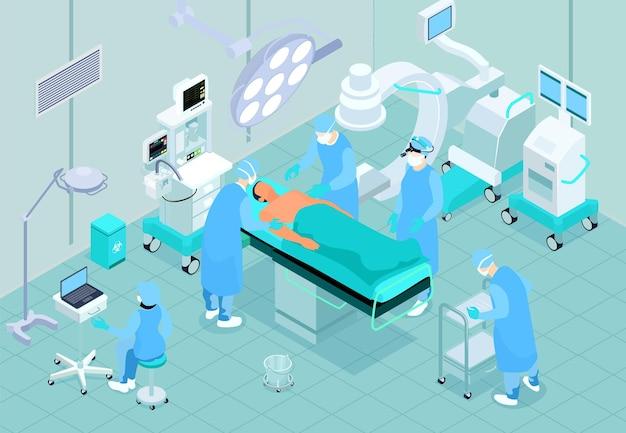 Izometryczne wnętrze sali operacyjnej z pacjentem na stole chirurgicznym, asystent pielęgniarki chirurga wykonującego zabieg