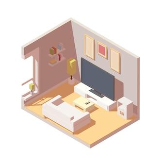 Izometryczne wnętrze salonu wektorowego to telewizor, sofa, półka na książki.