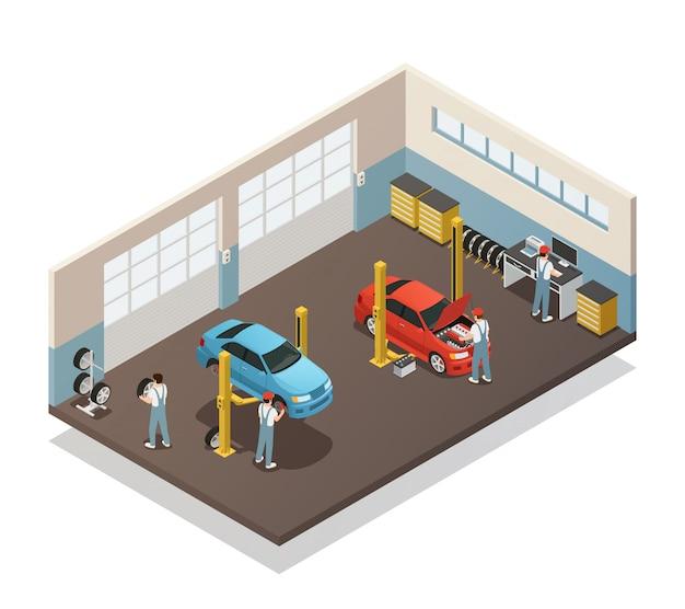 Izometryczne wnętrze serwisu samochodowego