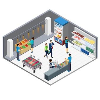 Izometryczne wnętrze sklepu spożywczego
