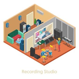 Izometryczne wnętrze studia nagrań muzycznych z piosenkarką. płaskie ilustracji wektorowych