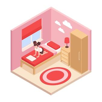 Izometryczne wnętrze sypialni z dziewczyną czytającą książkę na łóżku