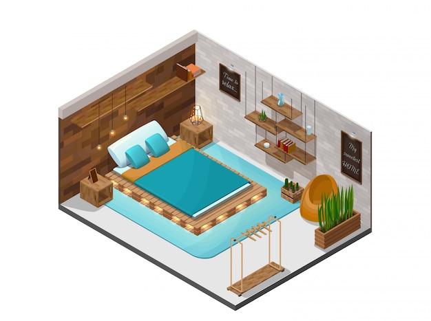 Izometryczne Wnętrze Sypialni Premium Wektorów