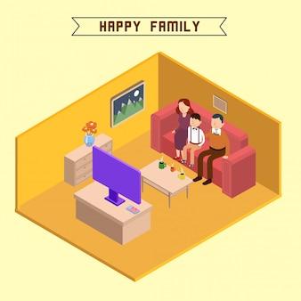 Izometryczne wnętrze szczęśliwa rodzina