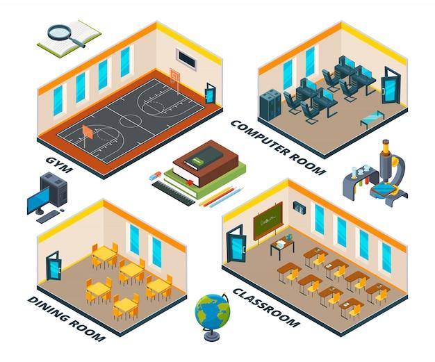 Izometryczne wnętrze szkoły. budynek z różnymi klasami instytutu lub szkoły