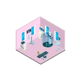 Izometryczne wnętrze szpitala z ilustracją mebli i sprzętu medycznego