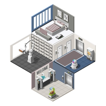 Izometryczne wnętrze zrobotyzowanych hoteli