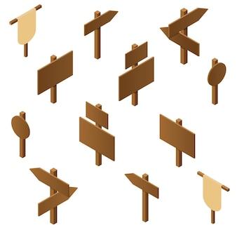 Izometryczne wskaźniki drewniane. brązowa sklejka. rustykalne znaki kierunku drogi. drewniany stojak na plakaty i reklamy. kierunek strzałki. design gry. ilustracja wektorowa.