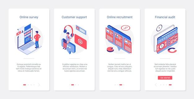 Izometryczne wsparcie online, audyt finansowy, rekrutacja ux, zestaw ekranów strony aplikacji mobilnej ui