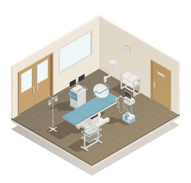 Izometryczne wyposażenie pokoju operacyjnego