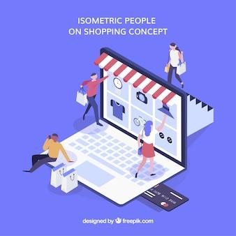 Izometryczne zakupy koncepcja z osobami