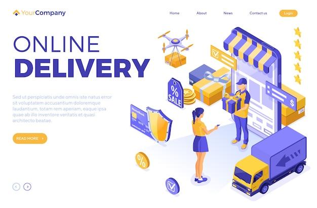 Izometryczne zakupy online, dostawa, koncepcja logistyki. dziewczyna kupuje online przez smartfon z dostawą, dronem, ciężarówką, prezentem, dostawcą. szablon strony docelowej.