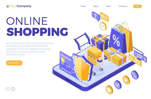 Izometryczne zakupy online, dostawa, koncepcja logistyki. smartfon z torbą dostawa online, prezent, tarcza, wózek, karta kredytowa. całodobowe zakupy internetowe. wstęp. odosobniony