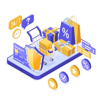 Izometryczne zakupy online, dostawa, koncepcja logistyki.