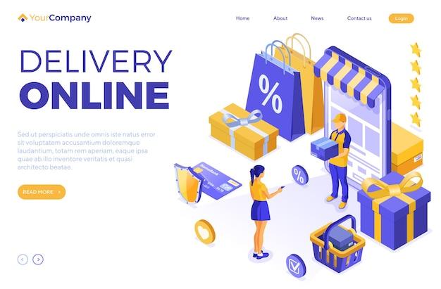 Izometryczne zakupy online, dostawa.
