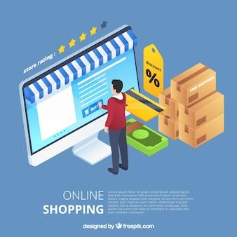 Izometryczne zakupy online koncepcja