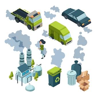 Izometryczne zanieczyszczenie powietrza. fabryka złe środowisko chemiczne śmieci miejski pojazd wektor izometryczny. ilustracja zanieczyszczenia powietrza i komina