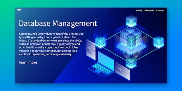 Izometryczne zarządzanie bazami danych, szablon strony internetowej.