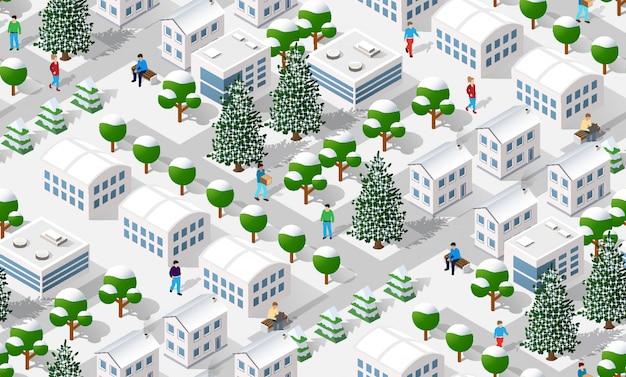 Izometryczne zimowe miasto