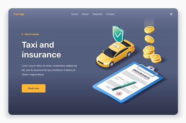 Izometryczne żółte taksówki, ubezpieczenie i złote monety. szablon strony docelowej.