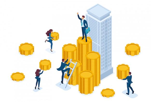 Izometryczni biznesmeni niosą pieniądze do firmy inwestycyjnej, instrumentu finansowego.