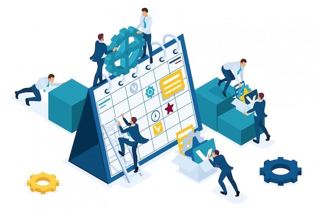 Izometryczni biznesmeni sporządzają biznesplan na następny miesiąc.