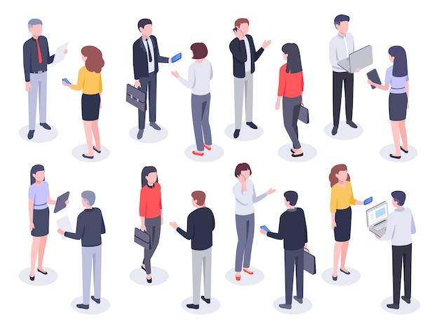Izometryczni ludzie biurowi. przedsiębiorcy, pracownik banku i profesjonalny korporacyjny biznesmen wektor ilustracja 3d zestaw