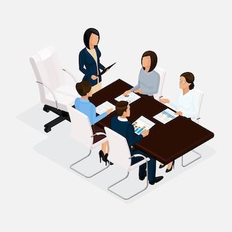 Izometryczni ludzie, biznesmeni 3d biznesowa kobieta. dyskusja, koncepcja negocjacji, burza mózgów. dyrektor przedstawia raport w izolacji