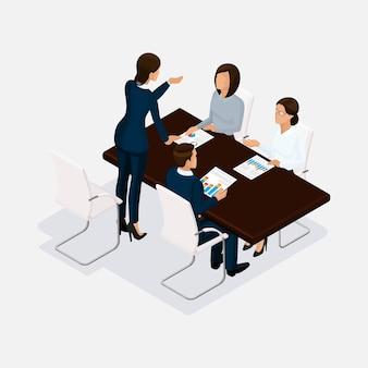 Izometryczni ludzie, biznesmeni 3d biznesowa kobieta. dyskusja, koncepcja negocjacji, burza mózgów. dyrektor skarcił podwładnych