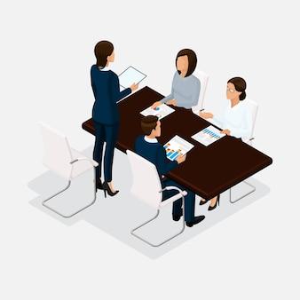 Izometryczni ludzie, biznesmeni 3d biznesowa kobieta. dyskusja, koncepcja negocjacji, burza mózgów. stół negocjacyjny dyrektora na białym tle