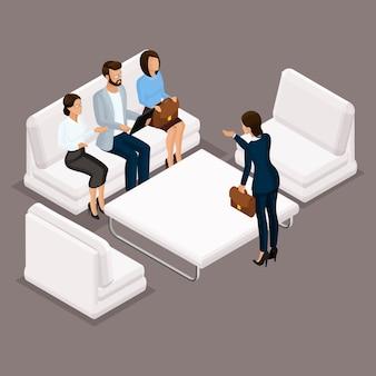 Izometryczni ludzie, biznesmeni 3d biznesowa kobieta. dyskusja, rozwiązywanie sporów i negocjacje. pracujący w biurze, pracownicy biurowi na ciemnym tle