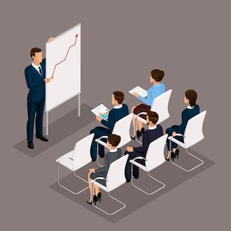 Izometryczni ludzie, biznesmeni 3d biznesowa kobieta. edukacja, szkolenie biznesowe. pracujący w biurze, pracownicy biurowi na ciemnym tle