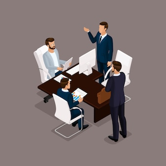 Izometryczni ludzie, biznesmeni 3d biznesowa kobieta. personel biurowy, aby omówić plan pracy, szef podwładnych na ciemnym tle