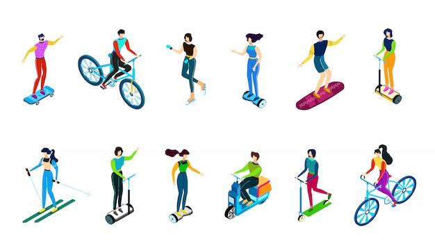 Izometryczni ludzie jedzie na rowerze, hulajnoga, pojazdy, ilustracja, płaskie znaki na białym nartach, skate, jeździć na deskorolce i żyroskop.