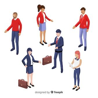 Izometryczni młodzi pracownicy biznesowi