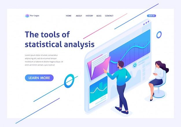 Izometryczni młodzi przedsiębiorcy testują narzędzia analizy statystycznej na tablecie. szablon strony docelowej witryny