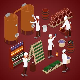 Izometryczni pracownicy w wytwórni win