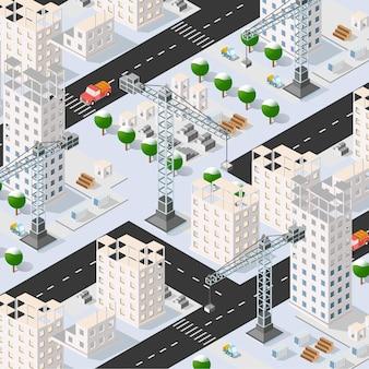 Izometryczny 3d budynku miejskiego z wieloma domami i drapaczami chmur, maszynami budowlanymi, dźwigami i pojazdami