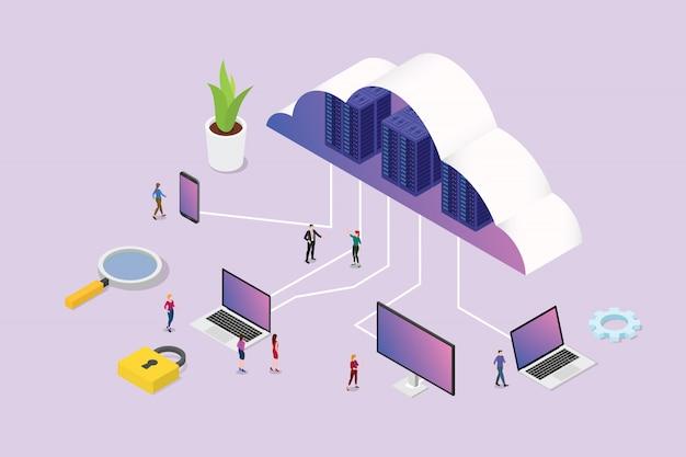 Izometryczny 3d cloud computing koncepcja z ludźmi zespołu i różnych platform medialnych
